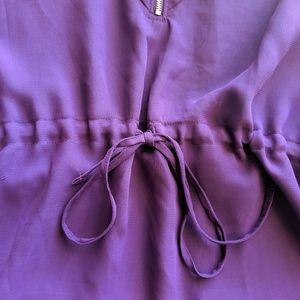 Miss Tina Tops - Miss Tina Purple Ruffle Zip V-Neck Top 2XL